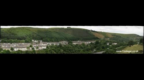 Tredegar - Looking down on new by-pass and the tip area of the town.