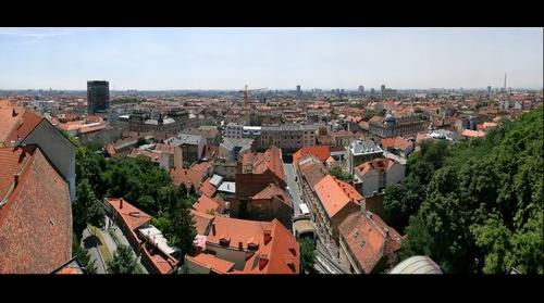 Zagreb panorama from the tower Kula Lotrščak - Croatia