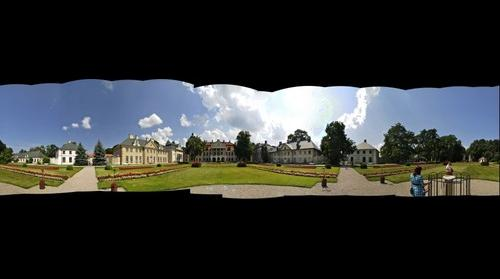 Panorama of park and palace in Kozłówka