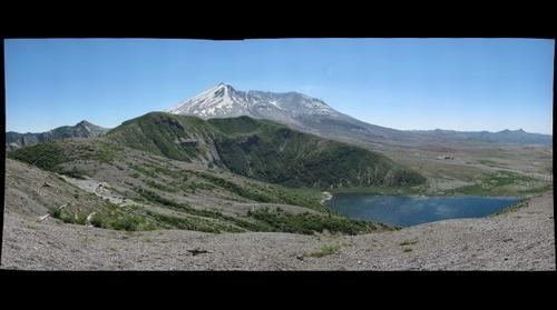 Small panorama of Mt St Helens and Spirit Lake