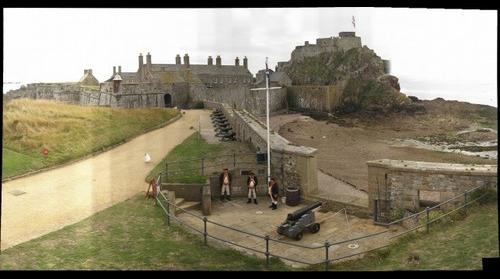 Elizabeth Castle, Jersey, and members of the 1781 Jersey Militia Artillery Detachment.