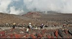 Pilgrims climbing up to the crater of Mt.Fujisan 3700m