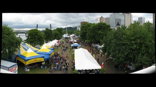 Portland Rose Festival's Waterfront Village from the Morrison Bridge