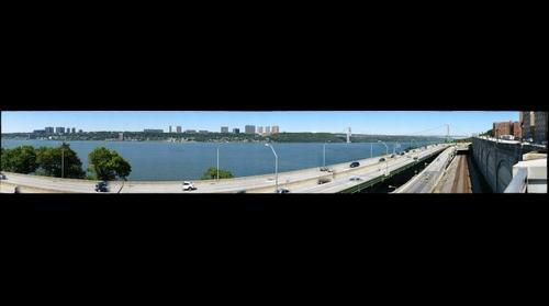 NJ Palisades and George Washington Bridge GWB over Hudson River, NY to NJ