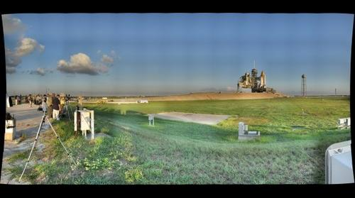 Space Shuttle Discovery Sunrise at Launch Pad