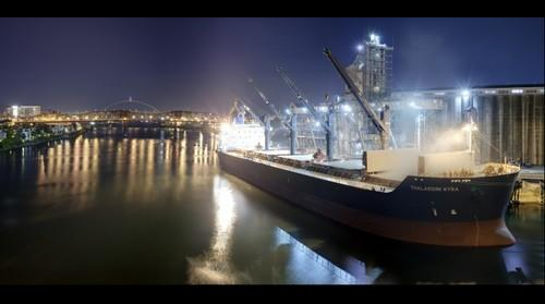 Cargo Ship on the Willamete River at Night
