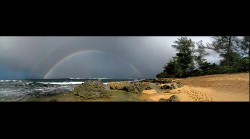 Double rainbow at Tunnels Beach Kauai