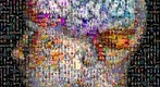 Photomosaic image of a brain superimposed over a woman&#39;s head