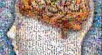 Photomosaic of a human brain superimposed over the head of a woman