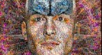 Photomosaic of the human brain superimposed over a man's head.