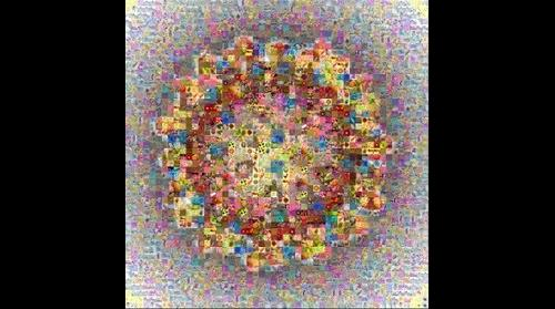 Photomosaic of an influenza virus particle