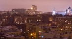 Panorama of Shabolovsky district in Moscow winter night