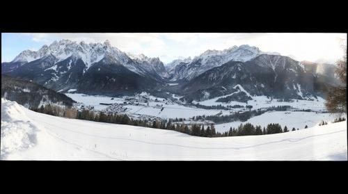 Blick vom Ratsberg auf Toblach im Hochpustertal