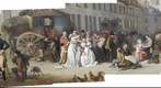 Paris Louvre Painting of Coach Scene from 1800&#39;s