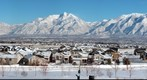 Snow-Covered Wasatch Mountains Across the Salt Lake City Valley, Utah