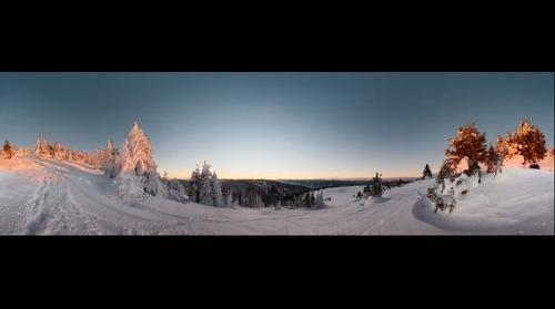 "Ski resort Stuhleck, at ""Spital am Semmering"" in Austria, at sundown"