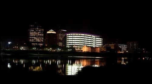 Dayton Ohio, Riverscape at Night