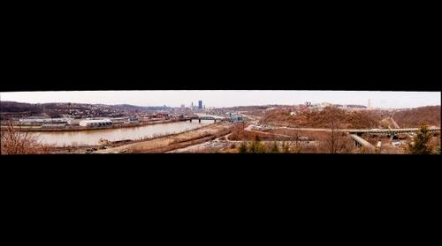 Greenfield Panorama - From Southside through Downtown Pittsburgh to Oakland