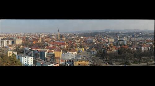 Aerial view of the city of Cluj Napoca, Kolozsvar. Transylvania, Romania by TransilvanArt , www.transilvanart.ro