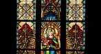 Stained glass window on Saint Michael&#39;s catholic church. Cluj Napoca, Kolozsvar. ByTransilvanArt.