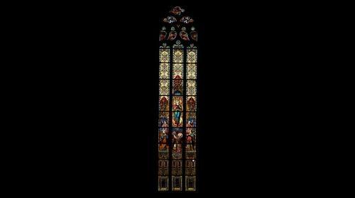 Stained glass window on Saint Michael's catholic church. Cluj Napoca, Kolozsvar. ByTransilvanArt.