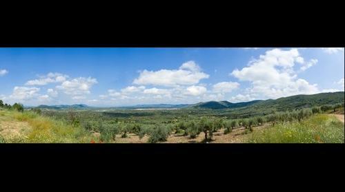 Panoramica Fuenlabrada de los Montes, Badajoz, Extremadura, Spain