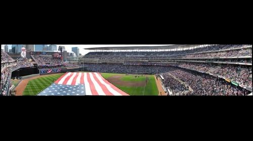 Target Field, opening day 2011 Minnesota Twins vs. Oakland A's. View from Left Field.