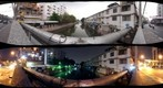 View from Norarat Sathan bridge over Bang Lamphu canal - day/night comparison.