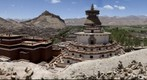 View of the Kimbum and the Dzong fortress in Gyantse, Southern Tibet.