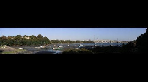 Auckland Harbour Bridge,C.B.D. from Little Shoal Bay.facing East, Northcote point.across to Hern Bay.