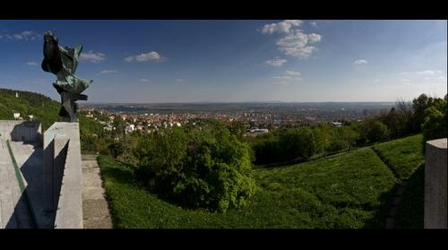 Panoramic view of Pecs (Hungary) from the sculpture 'Nike'