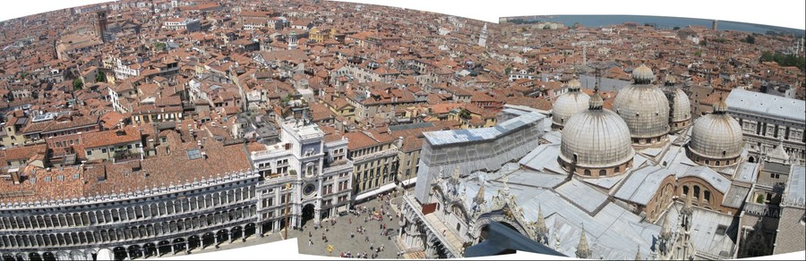 View from San Marco Campanile of Piazza and Basilica