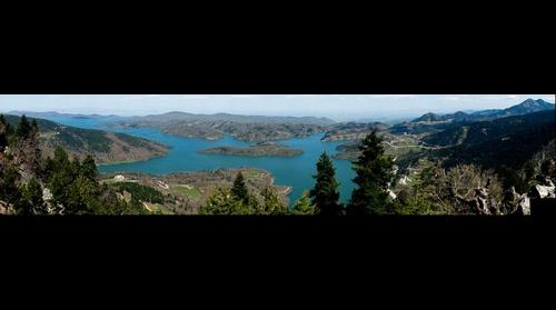 Panoramic view of Plastiras lake.