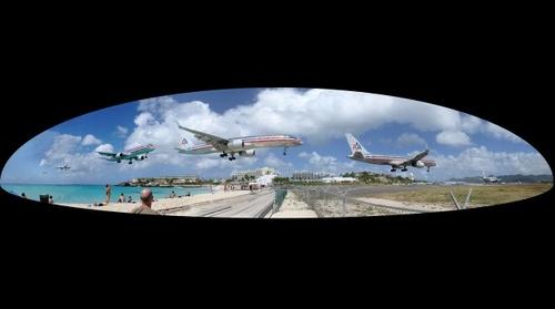 American Airlines plane landing at St Martin Juliana Airport SXM