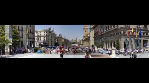 Plaza Pilar Zaragoza Spanish revolution acampada