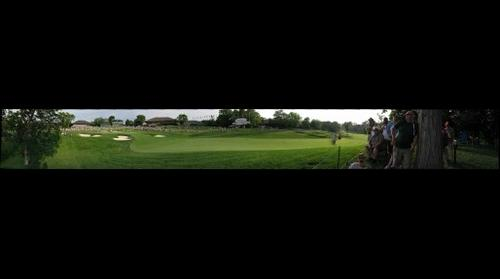 Panoramic photo from the 18th hole at the Memorial Tournament Sunday afternoon