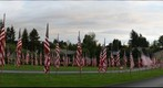 American flags at Sunset Hills Memorial Park, Bellevue Washington