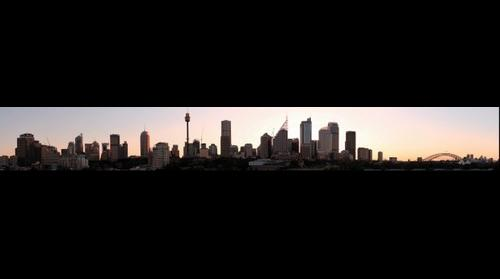 Sydney skyline at sunset.