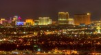 Las Vegas Strip at night from mountain app 10 miles east