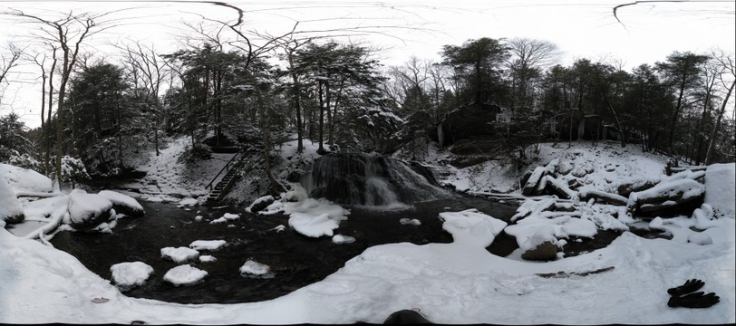 Waterfall and icicles at Hell's Hollow, McConnells Mill State Park
