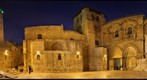 Night View of Courtyard and Facade of the Church of the Holy Sepulchre, Jerusalem, Israel