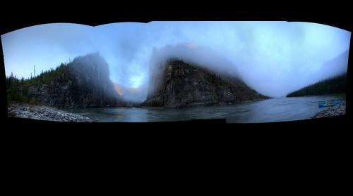 The Gate of Nahanni early morning mist