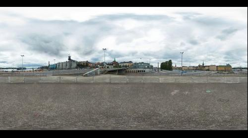 Full spherical 360x180 panorama of Slussen Stockholm