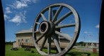 World&#39;s largest wagon wheel and pick, Fort Assiniboine, Alberta
