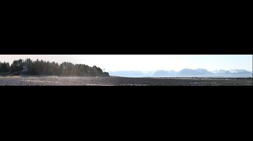 Partial panoramic of Bishop's Beach in Homer Alaska