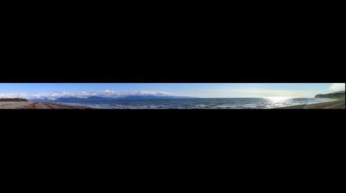 Complete panoramic of Bishop's beach in Homer Alaska