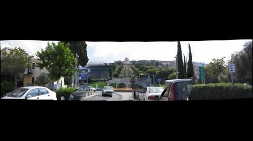 Bahai gardens with cars