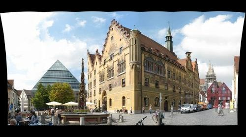 city hall of Ulm and the new library