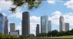 Houston, Texas: Downtown from Eleanor Tinsley Park