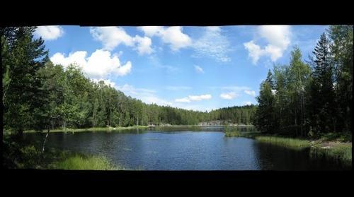 Lake Mustalampi in Nuuksio Park, just south of Haukkalampi, Finland
